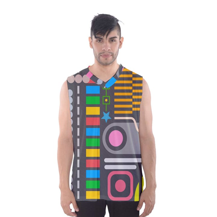 Pattern Geometric Abstract Colorful Arrows Lines Circles Triangles Men s SportsWear