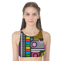 Pattern Geometric Abstract Colorful Arrows Lines Circles Triangles Tank Bikini Top