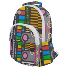 Pattern Geometric Abstract Colorful Arrows Lines Circles Triangles Rounded Multi Pocket Backpack