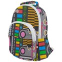 Pattern Geometric Abstract Colorful Arrows Lines Circles Triangles Rounded Multi Pocket Backpack View1