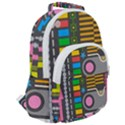 Pattern Geometric Abstract Colorful Arrows Lines Circles Triangles Rounded Multi Pocket Backpack View2