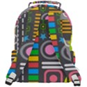 Pattern Geometric Abstract Colorful Arrows Lines Circles Triangles Rounded Multi Pocket Backpack View3