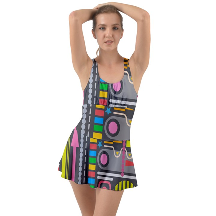 Pattern Geometric Abstract Colorful Arrows Lines Circles Triangles Ruffle Top Dress Swimsuit