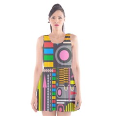 Pattern Geometric Abstract Colorful Arrows Lines Circles Triangles Scoop Neck Skater Dress