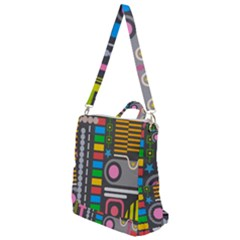 Pattern Geometric Abstract Colorful Arrows Lines Circles Triangles Crossbody Backpack