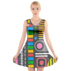 Pattern Geometric Abstract Colorful Arrows Lines Circles Triangles V Neck Sleeveless Dress by Vaneshart