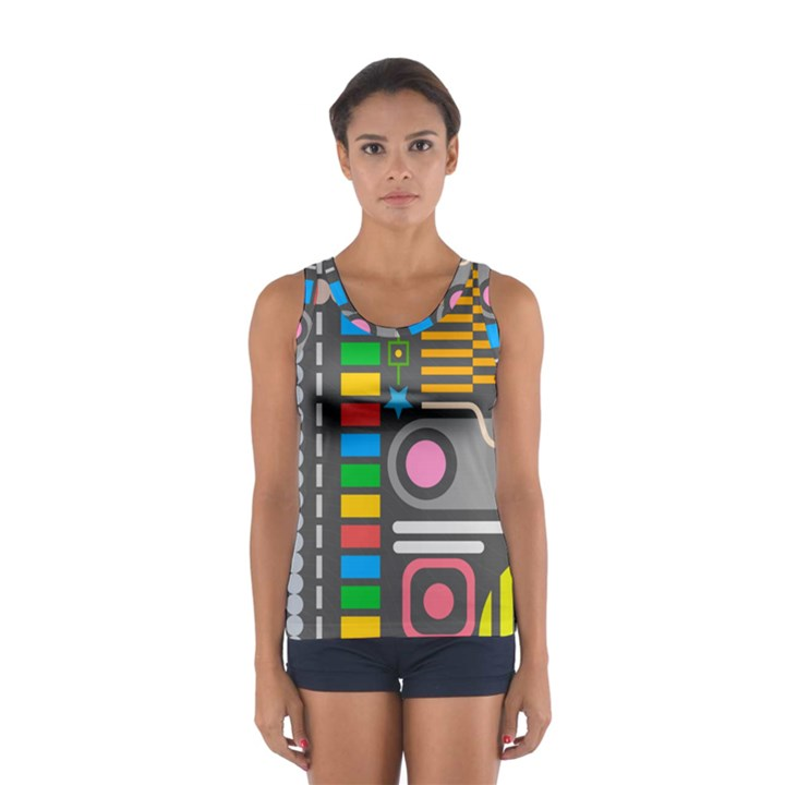 Pattern Geometric Abstract Colorful Arrows Lines Circles Triangles Sport Tank Top