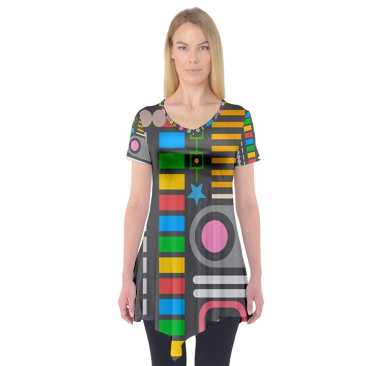 Pattern Geometric Abstract Colorful Arrows Lines Circles Triangles Short Sleeve Tunic