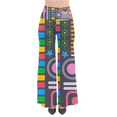 Pattern Geometric Abstract Colorful Arrows Lines Circles Triangles So Vintage Palazzo Pants