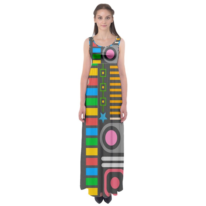 Pattern Geometric Abstract Colorful Arrows Lines Circles Triangles Empire Waist Maxi Dress
