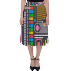 Pattern Geometric Abstract Colorful Arrows Lines Circles Triangles Classic Midi Skirt