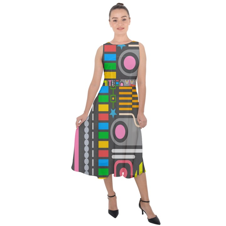 Pattern Geometric Abstract Colorful Arrows Lines Circles Triangles Midi Tie-Back Chiffon Dress
