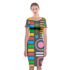 Pattern Geometric Abstract Colorful Arrows Lines Circles Triangles Classic Short Sleeve Midi Dress