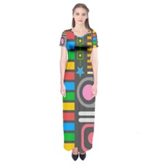 Pattern Geometric Abstract Colorful Arrows Lines Circles Triangles Short Sleeve Maxi Dress by Vaneshart