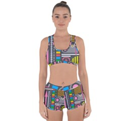 Pattern Geometric Abstract Colorful Arrows Lines Circles Triangles Racerback Boyleg Bikini Set