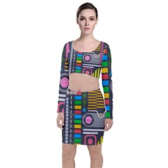 Pattern Geometric Abstract Colorful Arrows Lines Circles Triangles Top And Skirt Sets by Vaneshart