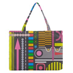 Pattern Geometric Abstract Colorful Arrows Lines Circles Triangles Zipper Medium Tote Bag