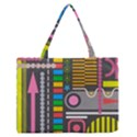 Pattern Geometric Abstract Colorful Arrows Lines Circles Triangles Zipper Medium Tote Bag View1