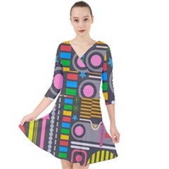 Pattern Geometric Abstract Colorful Arrows Lines Circles Triangles Quarter Sleeve Front Wrap Dress