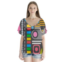 Pattern Geometric Abstract Colorful Arrows Lines Circles Triangles V Neck Flutter Sleeve Top