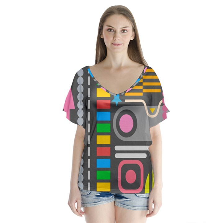 Pattern Geometric Abstract Colorful Arrows Lines Circles Triangles V-Neck Flutter Sleeve Top