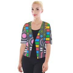 Pattern Geometric Abstract Colorful Arrows Lines Circles Triangles Cropped Button Cardigan