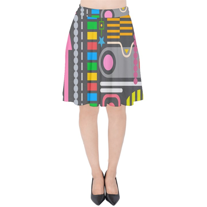 Pattern Geometric Abstract Colorful Arrows Lines Circles Triangles Velvet High Waist Skirt
