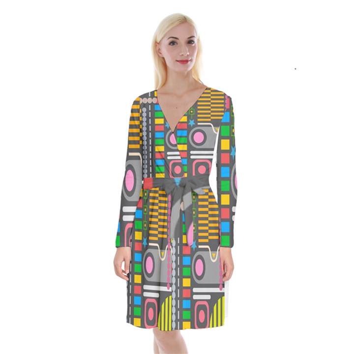 Pattern Geometric Abstract Colorful Arrows Lines Circles Triangles Long Sleeve Velvet Front Wrap Dress