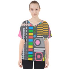 Pattern Geometric Abstract Colorful Arrows Lines Circles Triangles V Neck Dolman Drape Top