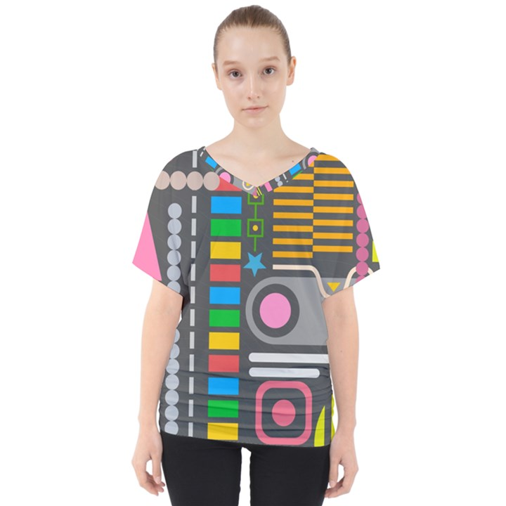 Pattern Geometric Abstract Colorful Arrows Lines Circles Triangles V-Neck Dolman Drape Top