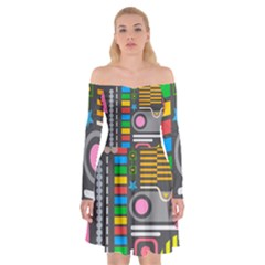 Pattern Geometric Abstract Colorful Arrows Lines Circles Triangles Off Shoulder Skater Dress