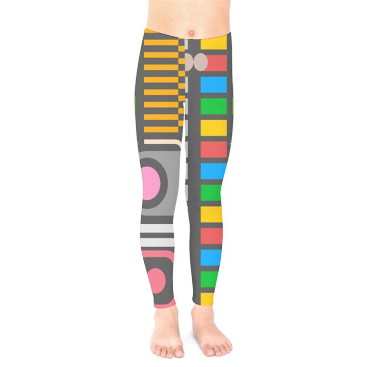 Pattern Geometric Abstract Colorful Arrows Lines Circles Triangles Kids  Legging