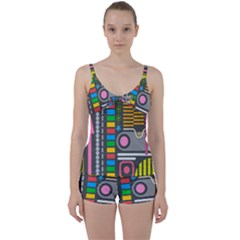 Pattern Geometric Abstract Colorful Arrows Lines Circles Triangles Tie Front Two Piece Tankini