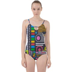 Pattern Geometric Abstract Colorful Arrows Lines Circles Triangles Cut Out Top Tankini Set