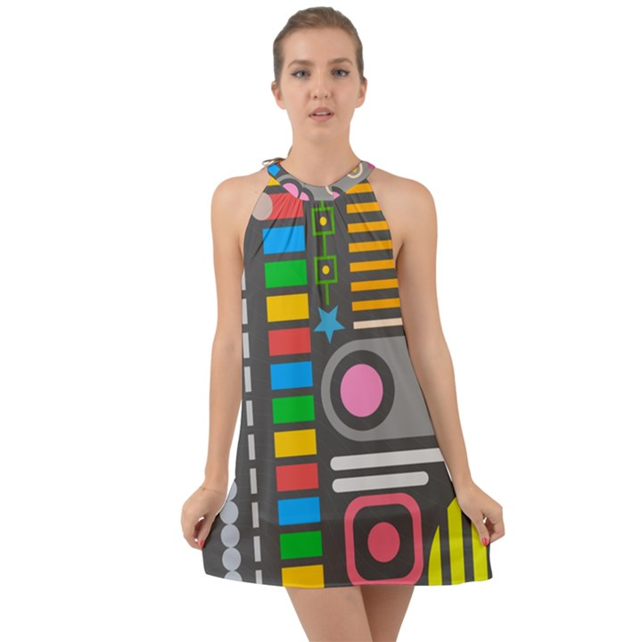 Pattern Geometric Abstract Colorful Arrows Lines Circles Triangles Halter Tie Back Chiffon Dress