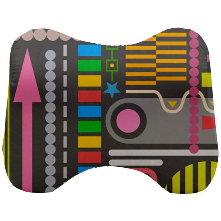 Pattern Geometric Abstract Colorful Arrows Lines Circles Triangles Head Support Cushion