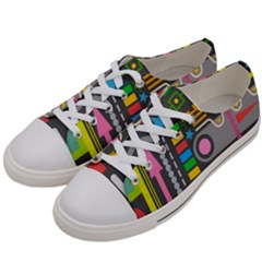 Pattern Geometric Abstract Colorful Arrows Lines Circles Triangles Women s Low Top Canvas Sneakers by Vaneshart