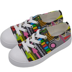 Pattern Geometric Abstract Colorful Arrows Lines Circles Triangles Kids  Low Top Canvas Sneakers by Vaneshart