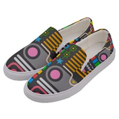 Pattern Geometric Abstract Colorful Arrows Lines Circles Triangles Men s Canvas Slip Ons by Vaneshart
