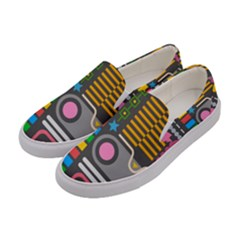 Pattern Geometric Abstract Colorful Arrows Lines Circles Triangles Women s Canvas Slip Ons by Vaneshart