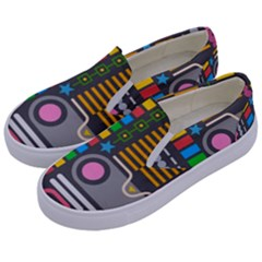 Pattern Geometric Abstract Colorful Arrows Lines Circles Triangles Kids  Canvas Slip Ons by Vaneshart