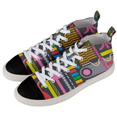 Pattern Geometric Abstract Colorful Arrows Lines Circles Triangles Men s Mid Top Canvas Sneakers by Vaneshart