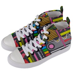 Pattern Geometric Abstract Colorful Arrows Lines Circles Triangles Women s Mid Top Canvas Sneakers by Vaneshart