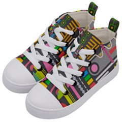 Pattern Geometric Abstract Colorful Arrows Lines Circles Triangles Kids  Mid Top Canvas Sneakers by Vaneshart