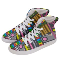 Pattern Geometric Abstract Colorful Arrows Lines Circles Triangles Men s Hi Top Skate Sneakers by Vaneshart