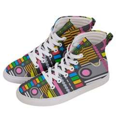Pattern Geometric Abstract Colorful Arrows Lines Circles Triangles Women s Hi Top Skate Sneakers by Vaneshart
