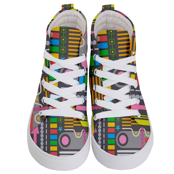 Pattern Geometric Abstract Colorful Arrows Lines Circles Triangles Kids  Hi-Top Skate Sneakers