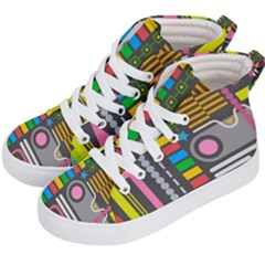 Pattern Geometric Abstract Colorful Arrows Lines Circles Triangles Kids  Hi Top Skate Sneakers by Vaneshart