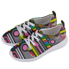 Pattern Geometric Abstract Colorful Arrows Lines Circles Triangles Women s Lightweight Sports Shoes by Vaneshart