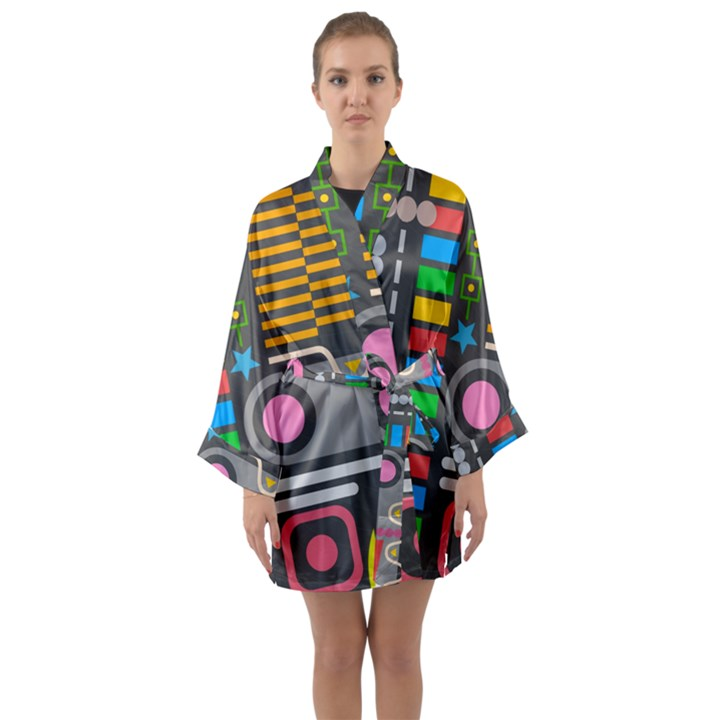 Pattern Geometric Abstract Colorful Arrows Lines Circles Triangles Long Sleeve Satin Kimono